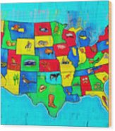 Us Map With Theme  - Free Style -  - Pa Wood Print