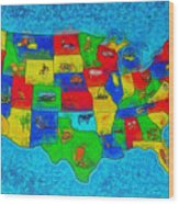 Us Map With Theme  - Special Finishing -  - Pa Wood Print