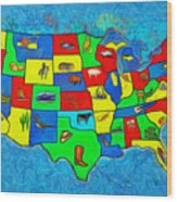 Us Map With Theme  - Van Gogh Style -  - Pa Wood Print