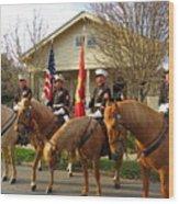 U.s. Marine Corps Leading The Krewe Of Proteus, Mardi Gras, New Orleans, 2017 Wood Print