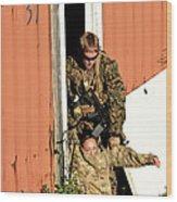 U.s. Marine Drags An Injured Patient Wood Print
