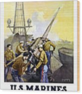 Us Marines -- First To Fight For Democracy Wood Print