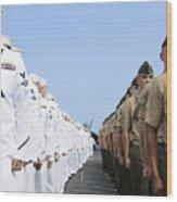 U.s. Marines And Sailors Stand Wood Print