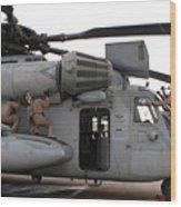 U.s. Marines Perform Preflight Checks Wood Print