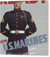 Us Marines - Ready Wood Print