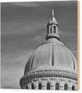 U.s. Naval Academy Chapel Dome Bw Wood Print