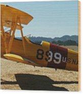 US Navy biplane Wood Print