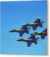 Us Navy Blue Angels Flight Demonstration Team In Fa 18 Hornets Wood Print
