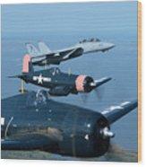 Us Navy Lagacy Flight  Wood Print