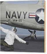 U.s. Navy Sailors Give The Thumbs Wood Print by Stocktrek Images