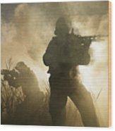 U.s. Navy Seals During A Combat Scene Wood Print