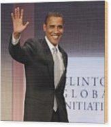 U.s. President Barack Obama At A Public Wood Print by Everett