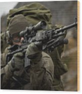U.s. Special Forces Soldier Armed Wood Print
