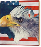 Usa Flag Eagle Wood Print