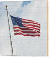 Usa Flag On Blue Sky With Clouds Wood Print