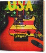Usa Guitar Music Wood Print