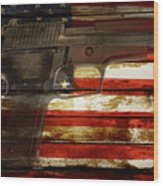 Usa Handgun Wood Print