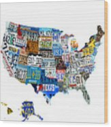 Usa License Plates Map 4p Wood Print