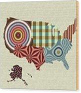 Usa Map Wood Print