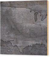 Usa Map Outline On Concrete Wall Slab Wood Print