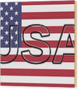 Usa On The American Flag Wood Print