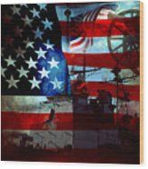 Usa Patriot Flag And War Wood Print