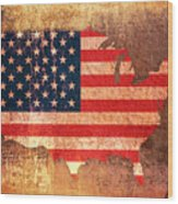 Usa Star And Stripes Map Wood Print