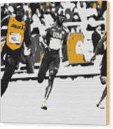 Usain Bolt Bringing It Home Wood Print
