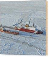 Uscg Healy Breaks Ice Wood Print