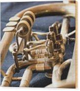 Used Old Trumpet, Closeup Wood Print