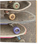 Used Skateboards Wood Print