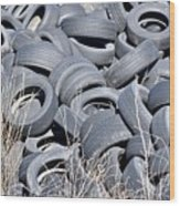 Used Tires At Junk Yard Wood Print