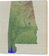 Usgs Map Of Alabama Wood Print