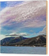Ushuaia, Ar, Clouds Over Mountains Wood Print