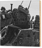 Usmc On The Move In A Lav-25 Wood Print