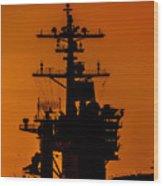 Uss Carl Vinson At Sunset 2 Wood Print