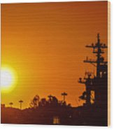 Uss Carl Vinson At Sunset 3 Wood Print