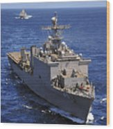 Uss Comstock Leads A Convoy Of Ships Wood Print