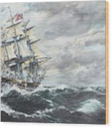 Uss Constitution Heads For Hm Frigate Guerriere Wood Print