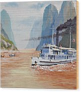 Uss San Pablo On Yangtze River Patrol Wood Print