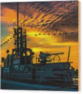 U.s.s. Silversides Sunset Wood Print