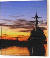 Uss Spruance Is Pierside At Naval Wood Print