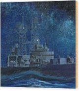 Uss Truxtun Dlgn-35 A Nuclear-powered Cruiser At Sea At Night Under The Milky Way Wood Print