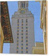 Ut University Of Texas Tower Austin Texas Wood Print