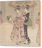 Utagawa Toyokuni I    Courtesans And Attendants Playing In The Snow Wood Print