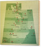 Utah Map Square Cities Straight Pin Vintage Wood Print
