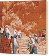 Utah Seventh Graders Climb Up Switchbacks On Wall Street On Navajo Trail In Bryce Canyon National Pa Wood Print