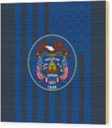 Utah State Flag Graphic Usa Styling Wood Print
