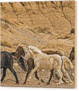 Ute Mountain Wild Horses On The Run Wood Print