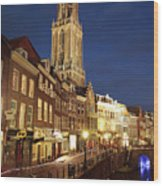 Utrecht Cathedral At Night Wood Print